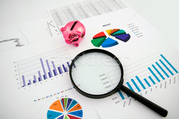 Magnifier on business background. Use for company strategic beha Stock photo © simpson33