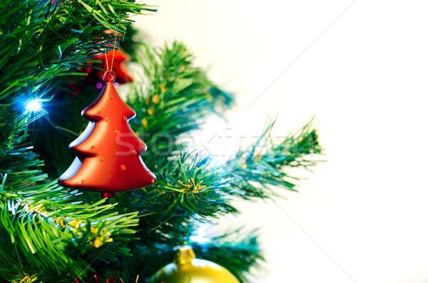 Rot Spielerei Form Weihnachtsbaum Baum grünen Stock foto © simpson33