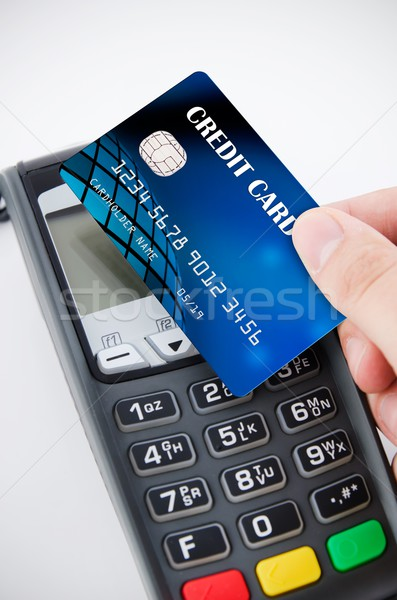Contactless payment card with NFC chip using with terminal devic Stock photo © simpson33