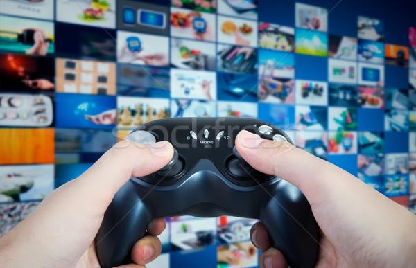 Stock foto: Halten · Spiel · Hände · spielen · Streaming · Multimedia