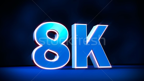 8K Ultra High Definition resolution three-dimensional glow text Stock photo © simpson33