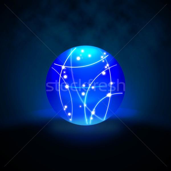 Abstract blue lighting sphere on dark background Stock photo © simpson33