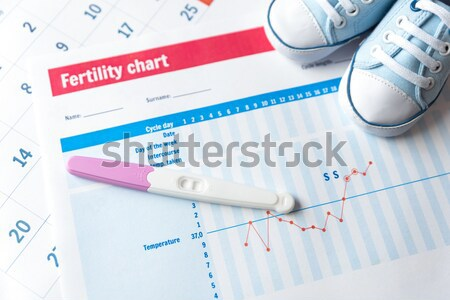 Electronic thermometer and pills on fertility chart Stock photo © simpson33