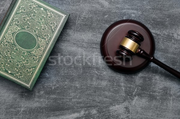 Gavel and book top view Stock photo © simpson33