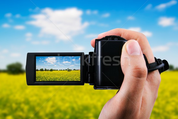 Video camera or camcorder recording yellow field and blue sky Stock photo © simpson33