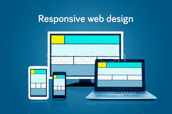 Responsive web design layout on different devices. Set on dark b Stock photo © simpson33