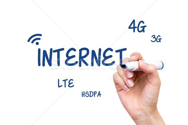 Hand writing internet standards content with blue marker Stock photo © simpson33