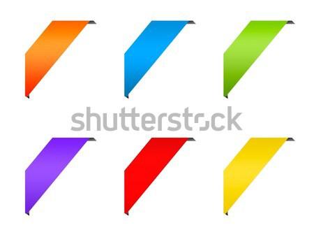 Ribbon corner labels set Stock photo © simpson33