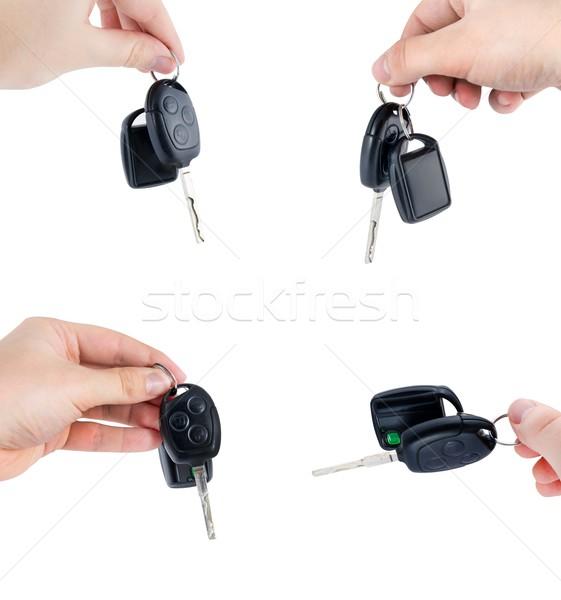 Araba anahtarları uzaktan kumanda ayarlamak yalıtılmış beyaz araba Stok fotoğraf © simpson33