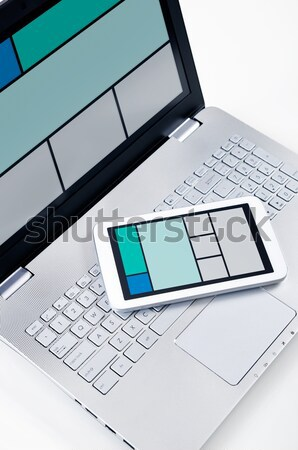 Responsive web design on mobile devices laptop and tablet pc Stock photo © simpson33