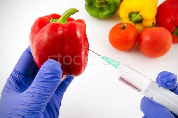 человека перчатки рабочих перец генетический инженерных Сток-фото © simpson33