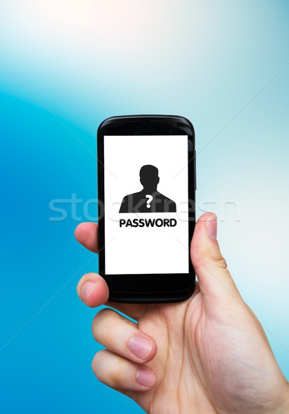 Hand smartphone wachtwoord display veiligheid Stockfoto © simpson33