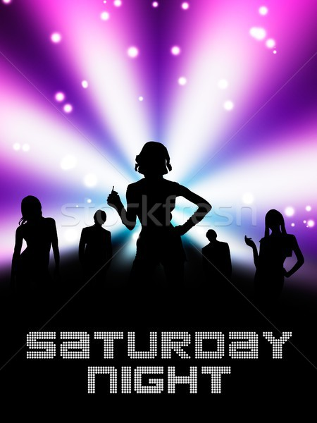 Samedi nuit disco affiche layout main Photo stock © simpson33