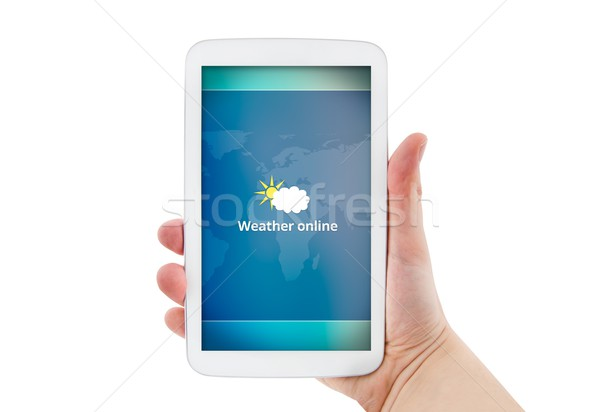 Hand tablet mobiele weer prognose Stockfoto © simpson33