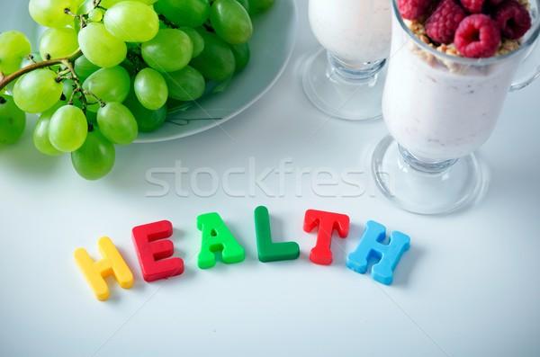 Salud palabra hasta cartas imanes alimentos saludables Foto stock © simpson33