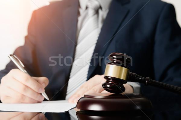 Holz Hammer arbeiten Rechtsanwalt Recht Gerechtigkeit Stock foto © simpson33