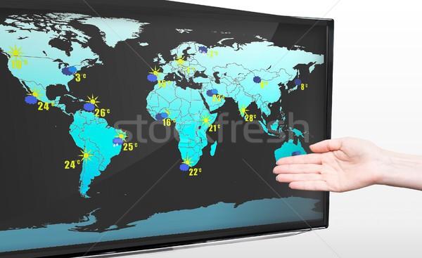 Strony pogoda prognoza nowoczesne telewizja Zdjęcia stock © simpson33