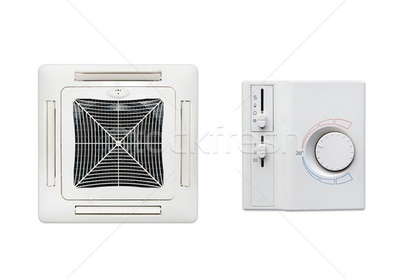 Ceiling air conditioner and thermostat set isolated on white bac Stock photo © simpson33