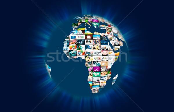 Televisie uitzending multimedia wereld wereldbol abstract Stockfoto © simpson33