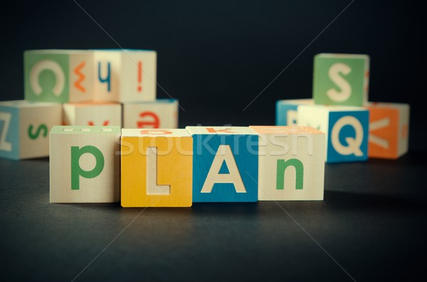 PLAN word with colorful blocks Stock photo © simpson33