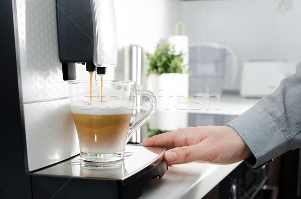 Home professional coffee machine with cappuccino cup. Stock photo © simpson33