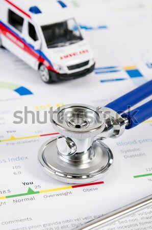 Glucometer and stethoscope on medical background Stock photo © simpson33