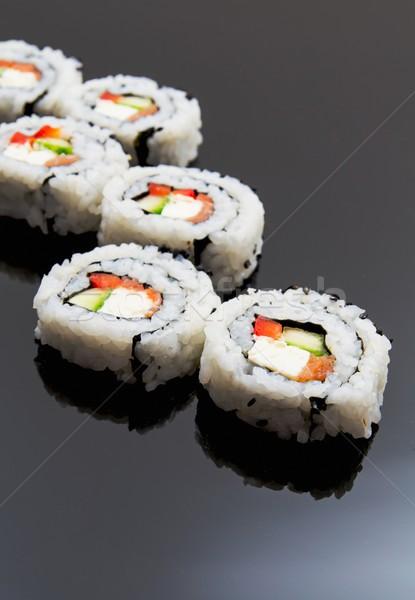 Sushi set on black reflection background Stock photo © simpson33