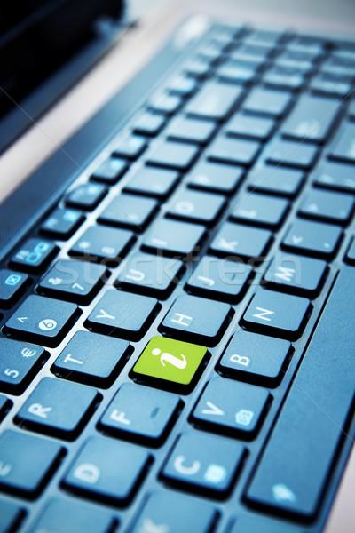 Green info button on computer keyboard Stock photo © simpson33