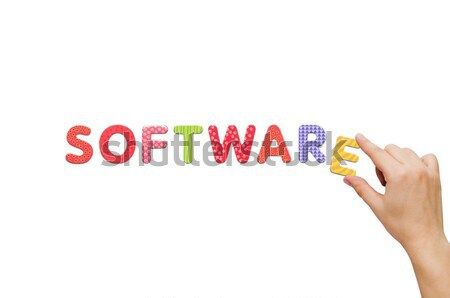 Hand woord software magnetisch brieven kleurrijk Stockfoto © simpson33