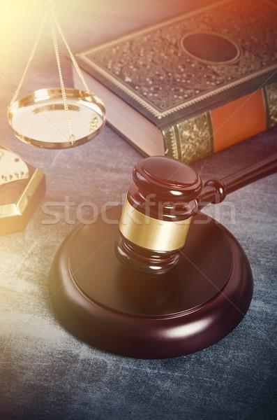 Młotek książek grunge prawa adwokat książki Zdjęcia stock © simpson33