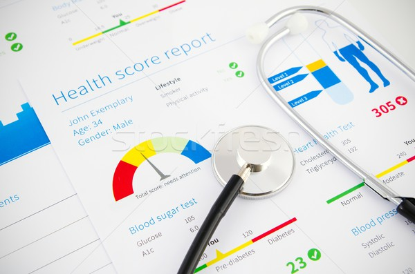 Salud condición puntuación informe estetoscopio médicos Foto stock © simpson33
