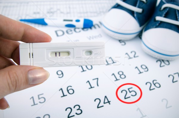 Stock photo: Positive pregnancy test on calendar with date of birth