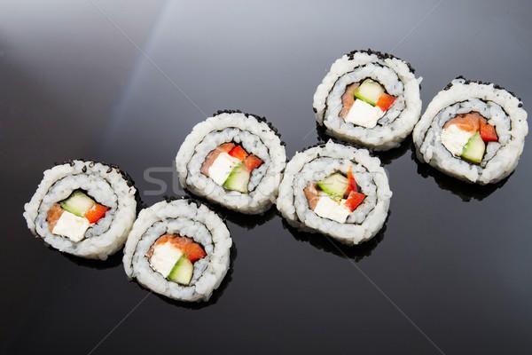 Sushis noir réflexion poissons dîner Photo stock © simpson33