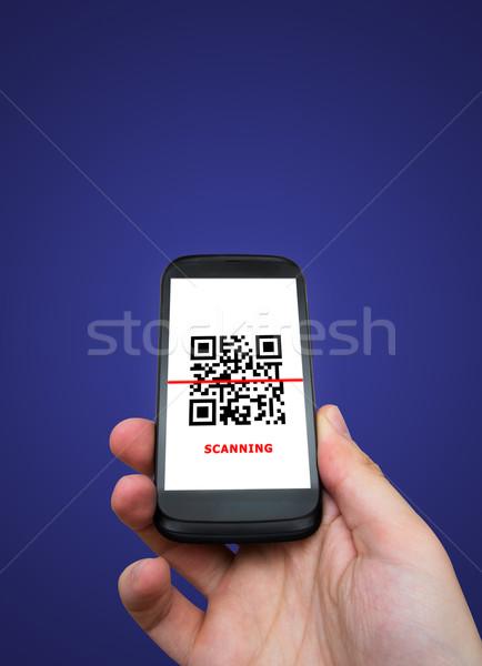 Smartphone qr code technologii przestrzeni bar ekranu Zdjęcia stock © simpson33