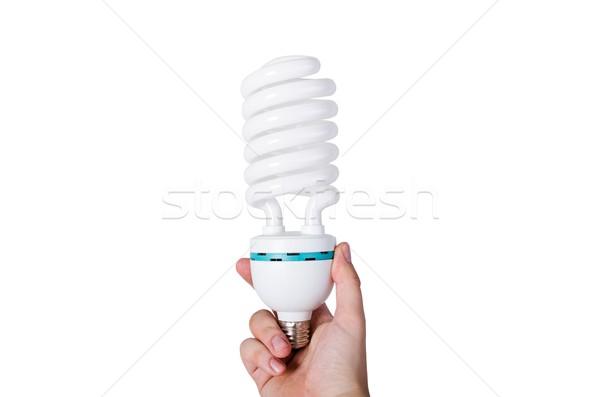 Mão energia lâmpada isolado Foto stock © simpson33