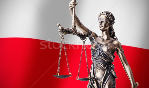 Themis with scale, symbol of justice on Polish flag background Stock photo © simpson33