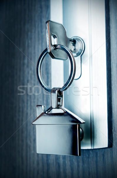 Haus Schlüssel Silber chrom home Form Stock foto © simpson33
