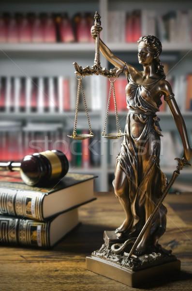 Marteau tribunal bibliothèque droit bois fond Photo stock © simpson33