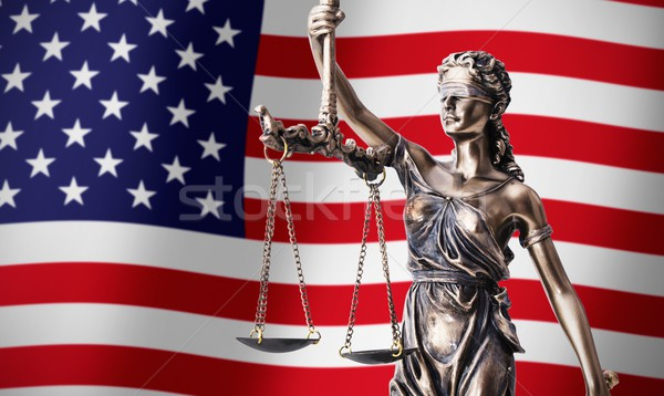 Themis with scale, symbol of justice on USA flag background Stock photo © simpson33