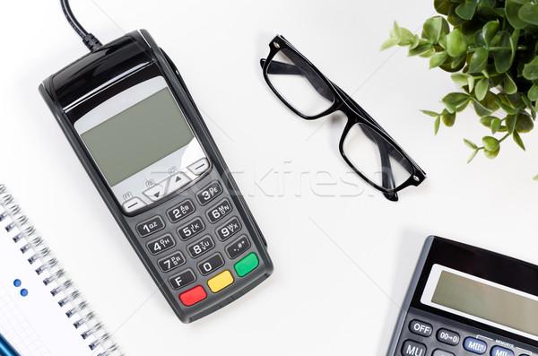 Tabel betaling calculator bloem bril Stockfoto © simpson33