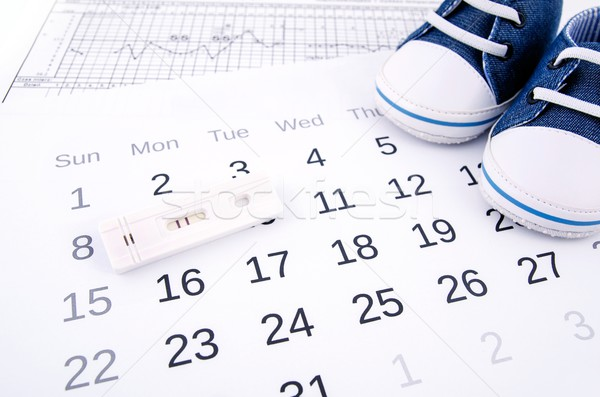 Positive pregnancy test on calendar and baby shoes Stock photo © simpson33