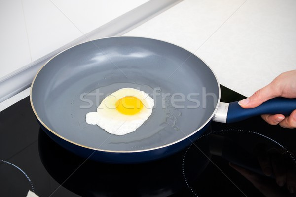Salted egg in a frying pan Stock photo © simpson33