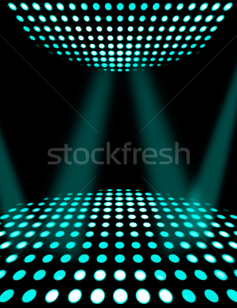 Dance floor disco poster background. Cyan spotlights Stock photo © simpson33