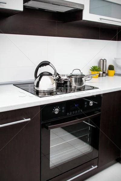 кастрюля сковорода современных кухне дома домой Сток-фото © simpson33