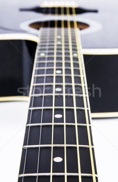 Close up of acoustic guitar strings. Instrument lying on a white Stock photo © simpson33