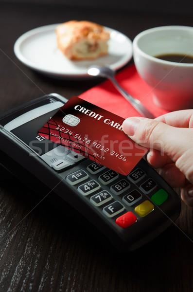 男 支払い 技術 カフェテリア 手 レストラン ストックフォト © simpson33