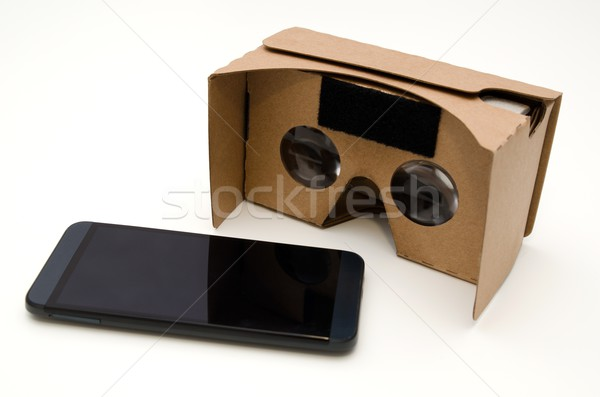 Virtual reality cardboard glasses. Easy way to watch movies in 3 Stock photo © simpson33