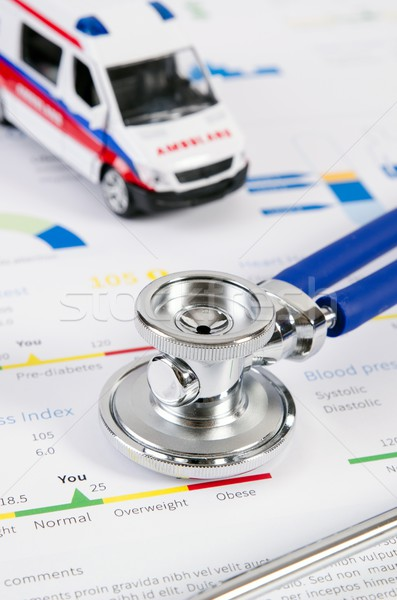 Health condition score report. Stethoscope on medical background Stock photo © simpson33