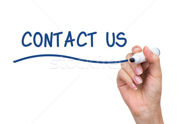 Hand writing Contact Us with blue marker on virtual board Stock photo © simpson33