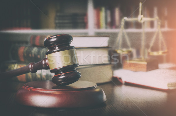Gavel in court room library Stock photo © simpson33